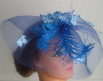 Large blue fascinator Weddings |Races | Mother of the bride