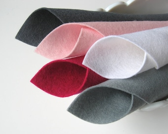 100% Wool, Felt Fabric, Pink and Grey, Pure Merino Wool, Handwork Supply, Craft Felt, Felt Assortment, Wool Felt Set, Wool Applique