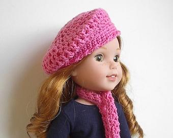 "14"" Doll Clothes Hat and Scarf Set Handmade and Crocheted to fit the Wellie Wishers and other 14.5"" dolls - Choice of Color  Ready to Ship"
