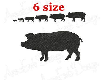 Pig Embroidery design. Pig Silhouette. Pig mini Embroidery. Pig design. Farm Embroidery. Farmer animals. Machine Embroidery Design.
