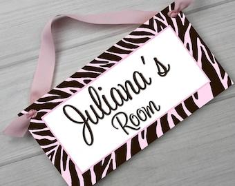 Girls Bedroom Zebra Print DOOR SIGN in Pink and Brown DS0226