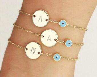 Customized Evil Eye Bracelet, Initial Disk Bracelet with Evil Eye, Bridesmaid Gift, Gold Personalized Bracelet,  Talisman Bracelet /  B440