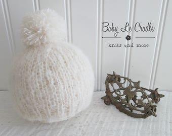 Hand Knit Pom Pom Beanie, Newborn Beanie, Brushed Alpaca, Newborn Prop