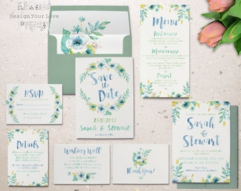 printable watercolor wedding invitation set garden floral wedding invitation printable floral invitation suite watercolour wedding invite