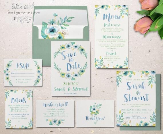 printable watercolor wedding invitation set garden floral