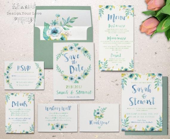 Printable watercolor wedding invitation set garden floral junglespirit Choice Image