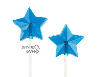Blue Star Lollipops (24 Pieces) Handcrafted by Sparko Sweets