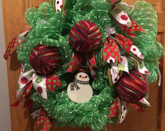 Snowman And Fabric Ornaments Christmas Deco Poly Mesh Wreath