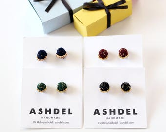Velvet Braided Stud Earrings with Metallic Thread and Beads - Hand Sewn Earrings - Colorful Stud Earrings by Ashdel - Holiday Collection