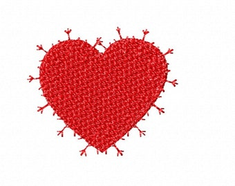 """Red Heart with decorative stitch outline Embroidery Design, Size 2.38 x 2.04 """", Machine Embroidery Design Download"""