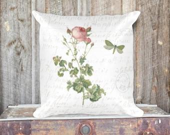 Vintage Rose Botanical Pillow Cover