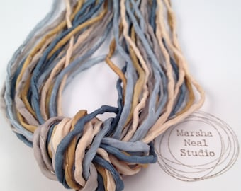 Hand Dyed Silk Ribbon - Silk Cord - DIY Crafts - Jewelry Supplies - Wrap Bracelet - Craft Supplies - 2mm Silk Cord Strands Blue Gold Boho