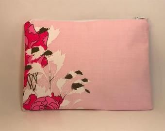 PINK CLUTCH Purse, floral clutch, evening bag, BRIDESMAIDS clutch bag, zipper clutch purse, Vintage Alfred Shaheen fabric, envelope clutch