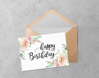 Printable Birthday Card - Instant Download PDF Cute Watercolor Flowers Birthday Card Template - Cut and Fold Floral Card