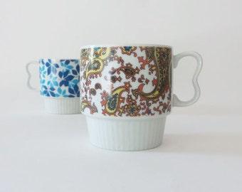 Vintage Retro Colorful Mismatched Mugs