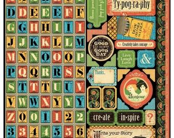 25% OFF Graphic 45 Typography - Alpha Sticker Sheet