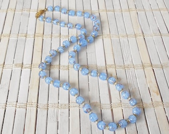 Vintage Murano Glass Beaded Necklace, Pale Blue & Gold, 1950's, Italian Craftsmanship, Speckled glass Beads, Springtime, Something blue