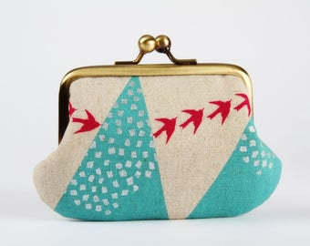 Metal frame purse with two sections - Hills in turquoise - Siamese daddy / Echino Japanese fabric / Two pockets / metallic silver / pink