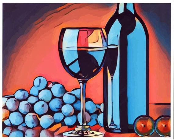 Wine glass grapes abstract art print food art original abstract art prints still life art kitchen home decor abstract artwork booze alcohol