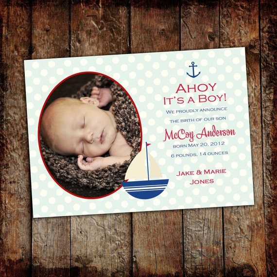 sonogram pregnancy announcement nautical baby shower invitation ahoy it's a boy sailboat red white blue baby birth stats 429 Katiedid Design