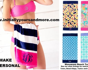 Monogram Beach Towels (Matching Beach Bags, Tunics and Cooler Totes and swim wear available too)