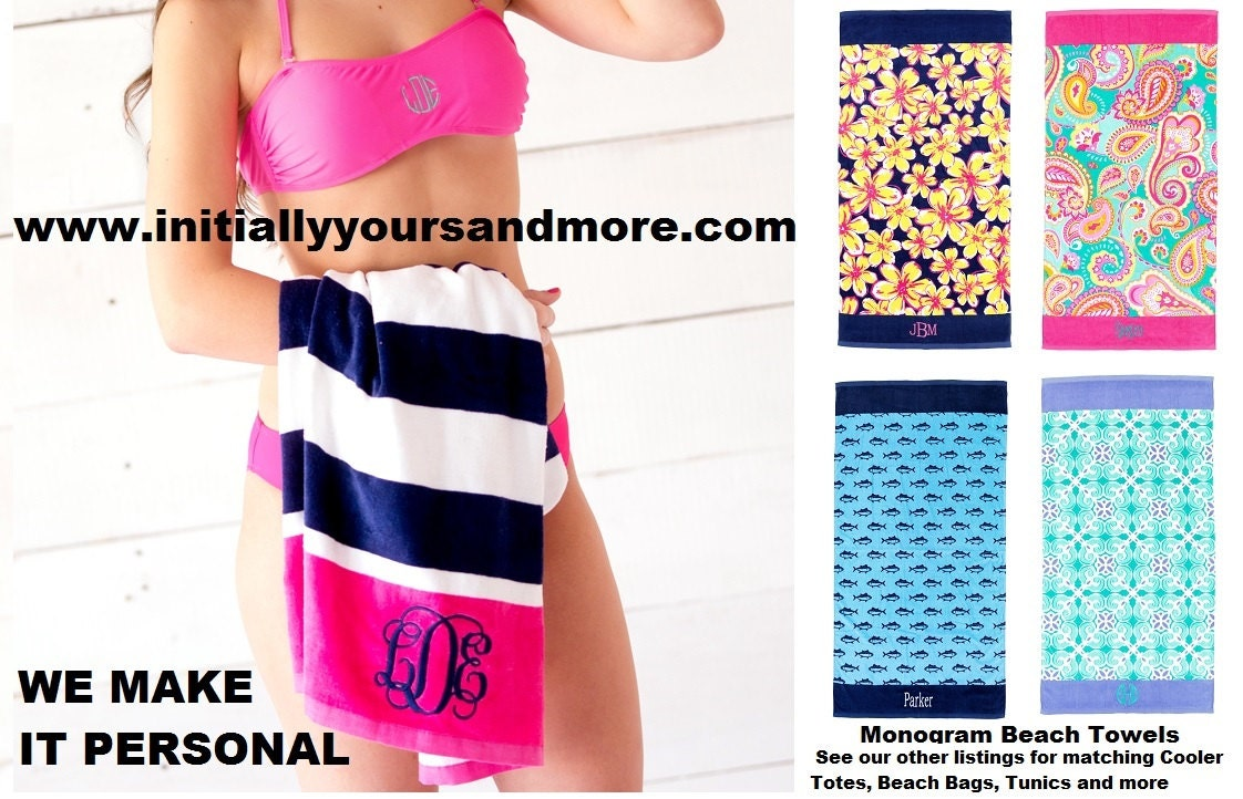 Monogram Beach Towels Matching Beach Bags Tunics and Cooler