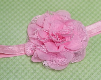 Elastic Headband - light pink chiffon and lace flower, light pink elastic band - newborn, toddler, child, kid, adult