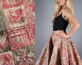 Novelty Print Skirt 50s Vintage Skirt Quilted Circle Skirt Pink Gold Brown Skirt Geometric Print Gold Overlay