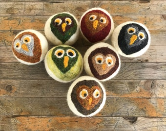 Dryer Balls - Wool Large Sweetheart Owls Set