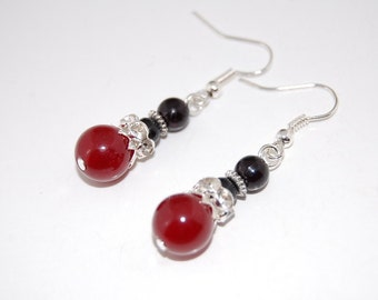 Burgundy Agate Beads Earrings, Beaded Earrings,Drop Earrings ,Dangle Earings ,Boho Jewelry ,Gift For Her