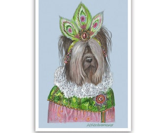 Skye Terrier Art Print - Mademoiselle - Dog Prints, Scottish Dogs - Dogs in Clothes Art - Pet Kingdom by Maria Pishvanova