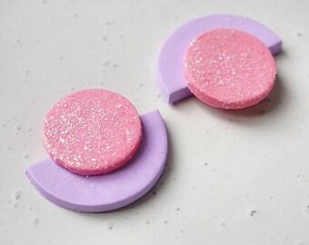 Purple + Pink Crescent Studs