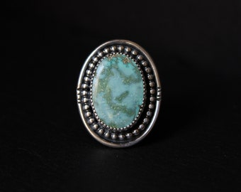 READY TO SHIP - Oval Turquoise Mountain Sterling Silver Statement Ring | Size 8 | Nevada Mine | Boho Minimalist | Gugma Jewelry