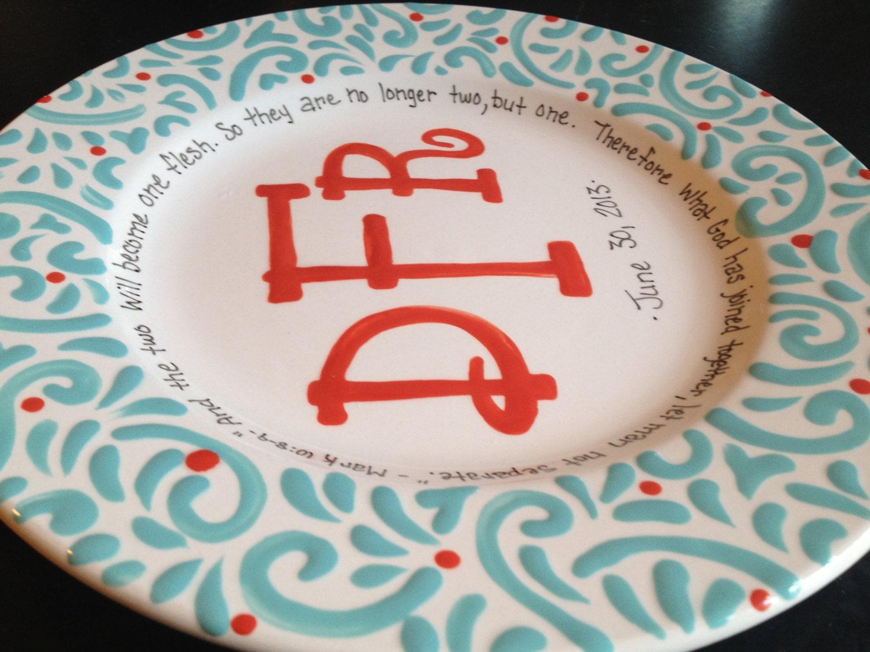 Monogrammed Wedding Gift: Personalized Monogrammed Plate Wedding Gift