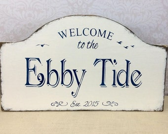 Custom personalized beach house sign, custom beach decor, lake or cabin sign, rustic river or bay side decor, porch sign