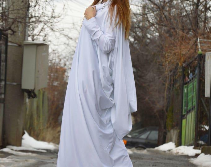 White Turtleneck Maxi Dress, Asymmetric Long Sleeve Dress, Casual Long Everyday Kaftan, Extravagant Loose Dress by SSDfashion