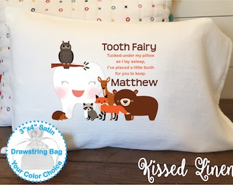 Personalized Tooth Fairy White Toddler Travel Pillowcase Soft 100% Cotton Flour Sack Fabric Boy Woodland Deer Bear Fox Tooth Fairy Pillow