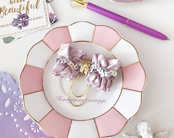 Planner Clip : Gorgeous LAVENDER Bow Shaped Gold PaperClip | Page Clip | Bookmark | Page Marker . Planner accessories supply.