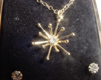 Vintage Marguts Collection Rhinestone Necklace & Pierced Earring Set  In Original Gift Box  2011 - 22