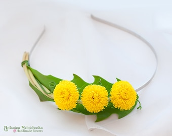 Hairband Dandelions - Polymer Clay Flowers