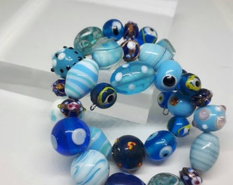 Blue Glass Bead Memory Wire Bracelet