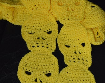 Crocheted SKULL Scarf in Bright Yellow