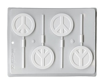 Peace Sign Hard Candy Lollipop Sucker Mold - 2.5 Inch - Candy Making 80s Party Favor Supplies