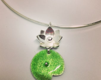 Lotus and Lily Pad Necklace