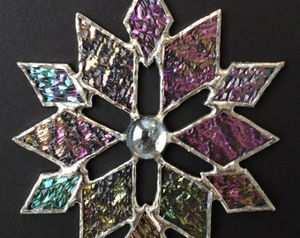 stained glass snowflake suncatcher (design 32)