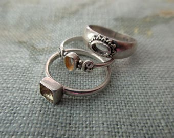 3 sterling silver rings for repurposing/repair  -  size 5 to 6, band
