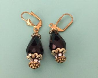 Gold Earrings/ Dangle Earrings/ Art Deco Earrings/ Black Earrings/ Crystal Earrings/ Teardrop Earrings/ Wedding Earrings/ Bridesmaid Gift