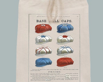 Vintage Baseball Caps Illustration Lunch Bag Gift Tote Cosmetics bag with Velcro closure and Rope Handle