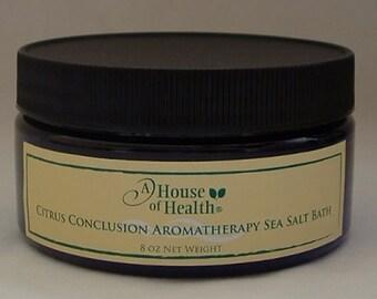 Bath Salts, Citrus Conclusion Aromatherapy Sea Salt Bath 8 oz., Vegan, Salt Bath