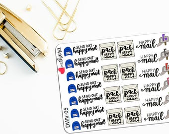 Happy Mail Variety | Pack Mail, Send Out Mail, Girl Boss Stickers, Shop Owner Stickers, Mail - Hand Drawn, Hand Lettered Planner Stickers
